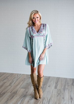 Leave Me Be Embroidered Bell Sleeve Dress Mint/Aztec