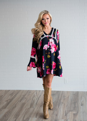 In a Heartbeat Floral Dress Navy
