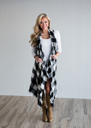 Long Black/White Checkered Ruffle Fringe Vest