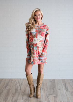 Back By Midnight Floral Dress Coral