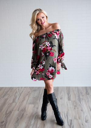 Make My Dreams Come True Floral Off Shoulder Dress Olive