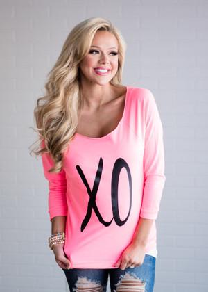 Flirty X0 Off Shoulder Top Neon Pink