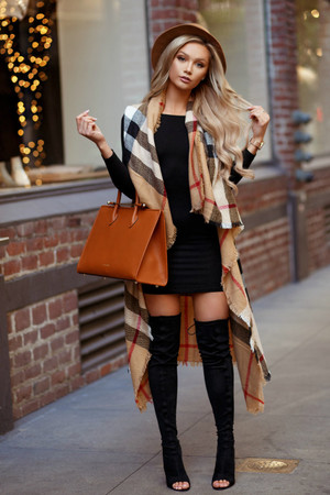 Looking At Stars Plaid Long Vest