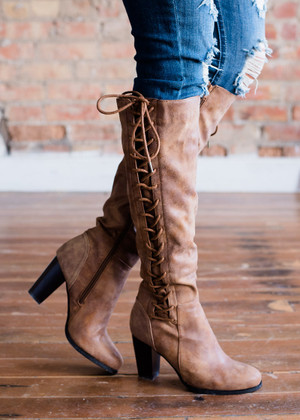 Tie Me Up on the Side Boots Chestnut CLEARANCE