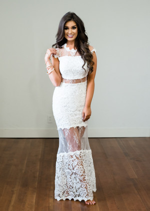 Spread Your Wings Lace Sheer Maxi Dress White