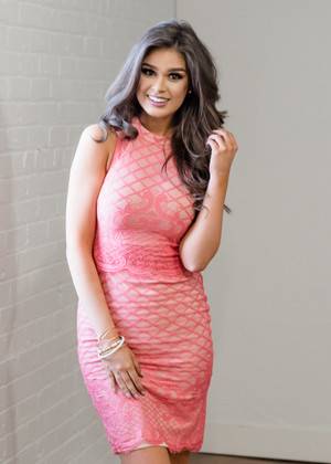 Made to Fly Halter Lace Dress Coral