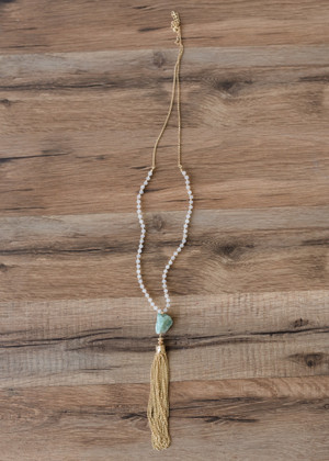 Tassels and Beads Necklace Teal