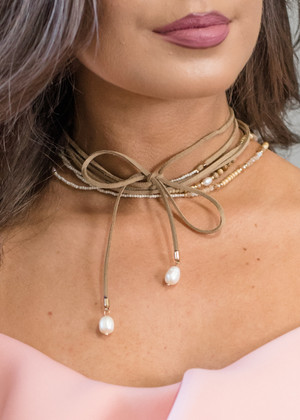 Layers and Beads Choker Brown