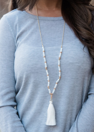Not Attached Tassels Necklace White CLEARANCE