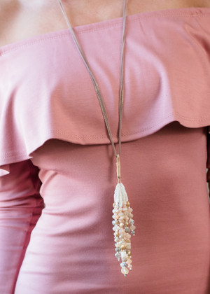 Personality Tassel Pearl Necklace Pink/White