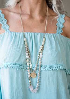 Double Layer Beaded Necklace Pink