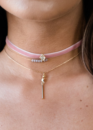 Simple and Dainty Choker Pink
