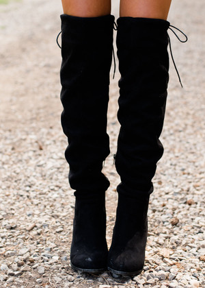 Back It On Up Over the Knee Boots Black
