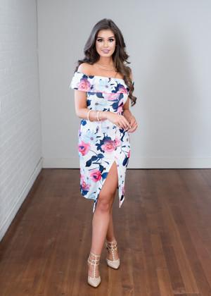 My One Desire Floral Off Shoulder Dress