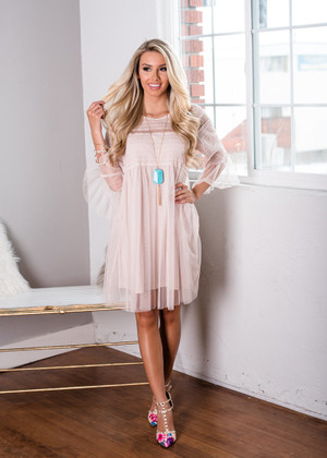 I Have Hope Bell Sleeve Tulle Dress Tan