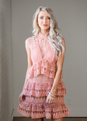 Tell Me What to Do Crochet Lace Ruffle Dress Dusty Rose