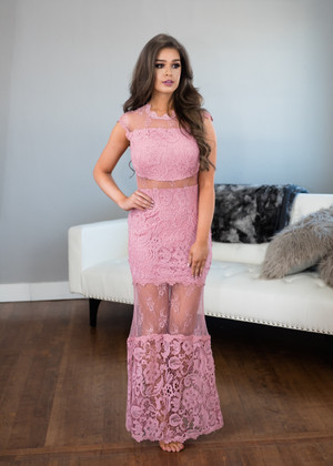 Spread Your Wings Lace Maxi Dress Pink