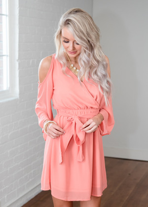 Never Felt That Way Open Shoulder Tie Dress Coral