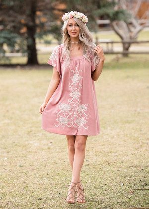 Leave it Be Embroidered Dress Dusty Rose