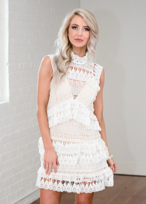 Tell Me I'm Pretty Detailed Lace Dress White