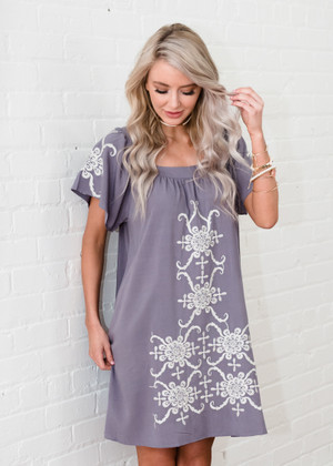Leave it Be Embroidered Dress Mauve