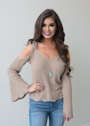 Take My Hands Open Shoulder Tie Belle Sleeve Top Taupe