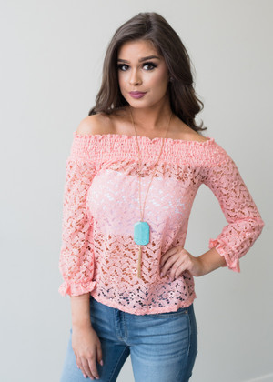 Call My People Off Shoulder Lace Top Pink CLEARANCE