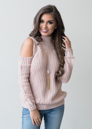 The Last Time Open Shoulder Knit Sweater Top Pink