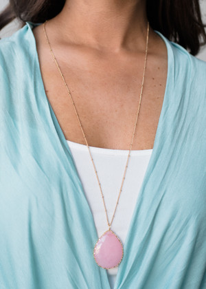 Single Tear Drop Necklace Pink