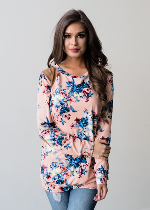 So In Love With You Floral Elbow Patch Top Pink