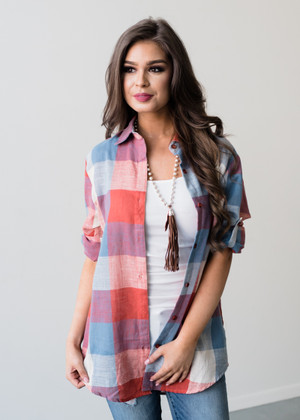 Loose Around the Edges Plaid Top Orange/Blue