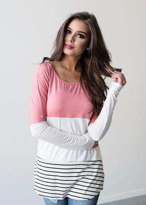 Whatever You Want Striped Color Block Top Pink