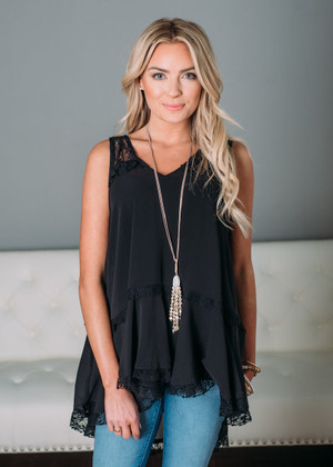Lace Sheer Ruffle Tank Black