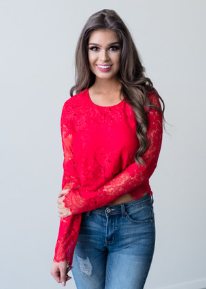Dance Forever Long Sleeve Lace Top Red