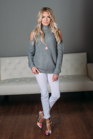 The Last Time Open Shoulder Sweater Top Gray CLEARANCE