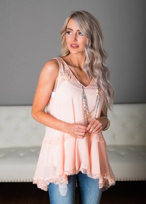 Peach Sheer Lace Trim Ruffle Tank
