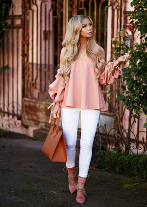 Still Not Good Enough Off Shoulder Top Peach