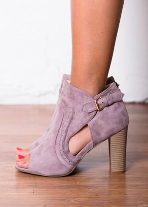 Side to Side Heeled Booties Purple