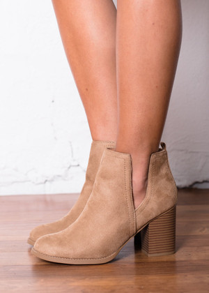 With a Purpose Heeled Booties Tan CLEARANCE