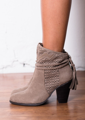 So What Heeled Booties Taupe CLEARANCE