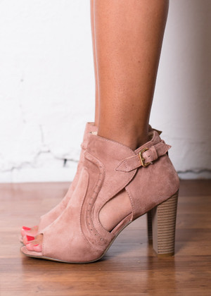 Side to Side Heeled Booties Pink