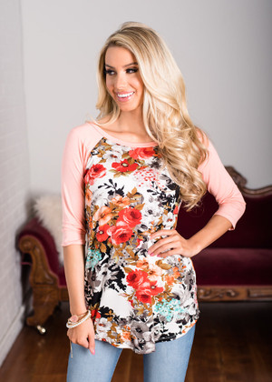 Everlasting Love 3/4 Sleeve Floral Top Pink