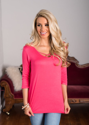 All of My Life 3/4 Sleeve Criss Cross Top Coral