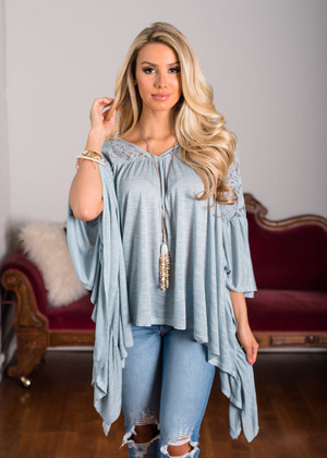 Take a Look Lace Ruffle Top Sage