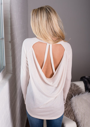 Open Back Detail Long Sleeve Top Ivory