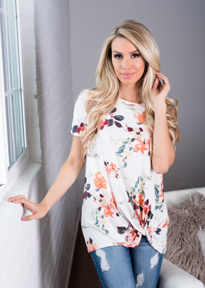 Floral with a Twist Top Ivory