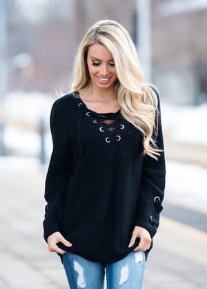 Back For More Tie Up Sweater Black