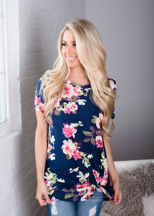 Floral with a Twist Top Navy