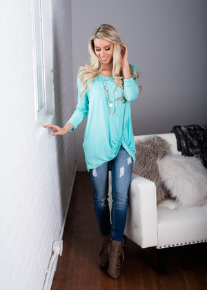 I Really Don't Care 3/4 Sleeve Top Mint