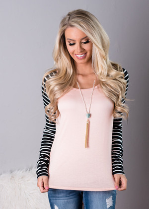 Make Your Move Striped Top Pink